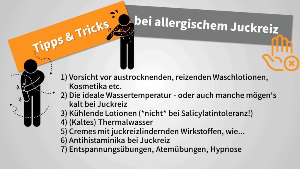 Abbildung mit Tipps bei allergischem Juckreiz